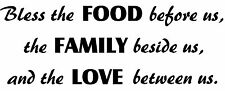 Bless The Food Family Love Between Us Kitchen Dining Room Wall Decal Table Pray
