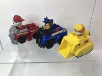 Paw Patrol Racers Mini Vehicles Chase Rubble Marshall Lot- 8cm High Push Along