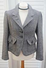 Next Jacket Grey Herringbone Wool Blend Pockets - Size 14