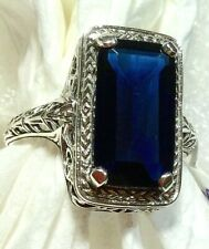 RING 7CT Blue Sapphire Solid Sterling Silver Filigree Ring Jewelry Sz 8