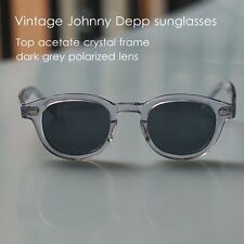 Vintage polarized sunglasses Johnny Depp glasses crystal frame dark grey lens