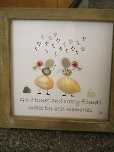 pebble art, sea glass & shell handmade picture the Crazy Friends gift present