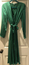 Ghost Satin Bottle Green Button Up Midi Dress - Size S (UK10-12)
