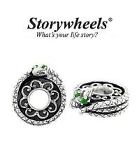 STORYWHEELS Sterling silver & emerald green DIOPSIDE SNAKE charm bead, Pisces