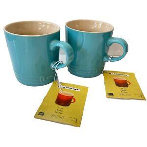 LE CREUSET Two Teal Blue Mugs Stoneware
