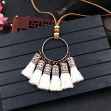 Women Vintage Long Tassel Weaving Pendant Necklace Sweater Leather Boho Chain