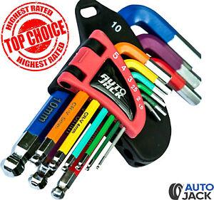 Autojack Hex Allen Key Set SHORT 9 Piece Metric Ball End Colour Coded 1.5 - 10mm