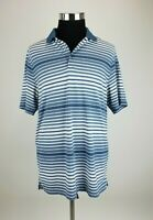 Nike Golf Dri Fit Polo Shirt Mens Large Blue Striped Short Sleeve EUC B34-08