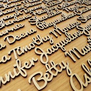 GOLD 25mm TALL THICK 4mm Wooden Wedding Place Name Place TABLE Setting LASER CUT