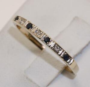 9carat 9k Gold Sapphire & Diamond Set Half Eternity Ring Size UK-Q US-8