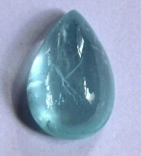 23Ct Natural Aquamarine Brazil Cabochon Loose Gemstone 23X15.5mm Pear S733