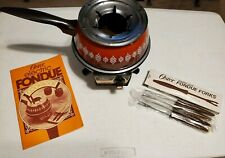 Vintage 1979 Oster Electric Fondue Orange Brown VGC with Cookbook and 4 Forks
