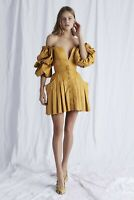 AJE Selwyn Top in Mustard Yellow 100% Genuine Leather SOLD OUT RRP $575 Sz 6