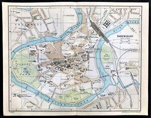 1926 ANTIQUE COLOR MAP ~ SHREWSBURY, WALES UK ~ STREETS DETAIL ~ 100% AUTHENTIC