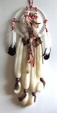 Mandella rot weiss 23 x 70 cm Traumfänger Dreamcatcher Fell Perlen Federn Feder