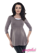 Purpless Maternity Comfortable Pregnancy Top Tunic Dress With Inner Fabric D5200 Cappuccino UK 12