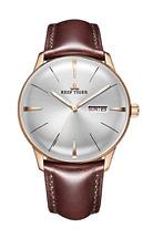 Reef Tiger NIB Men Luxury Automatic Rose Gold Convex Lens Watch Free Shipping