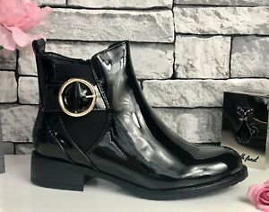 BLACK PATENT ANKLE BOOTS - BUCKLE TRIM - UK 5 - EU 38 - Brand New In Box