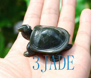 Hand Carved Natural Nephrite Jade Turtle Figurine / Feng Shui Carving Longevity