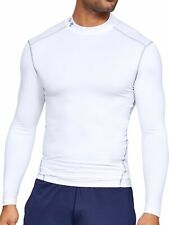Under Armour ColdGear Mens Mock Long Sleeve Compression Top - White