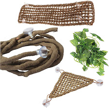 New listing Bearded Dragon Hammock Reptile Jungle Vines Flexible Reptile Leaves With Suction