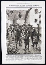BRITISH ARMY SOLDIER BUYING FROM FRENCH CHILDREN TUCK SHOP WW1 PRINT 1917