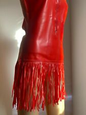 Latex Kleid rot Gr. L, mit Fransen, neu mit Fehlern