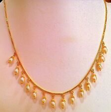 STYLISH 22 K YELLOW GOLD FILIGREE WORK NECKLACE CHAIN DANGLING PEARL EARRING