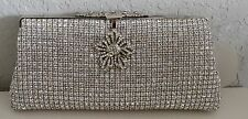 Crystal Beaded Flower Medallion Evening Clutch Handbag Purse - Silver - New!
