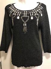 Lauren Michelle Women's Sparkling Sliver /Black Embellishment Split Sweater