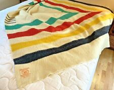 "Vintage Hudson's Bay Company ""Hudson's Bay Point"" Wool Blanket 68"" X 90"" Nice!"