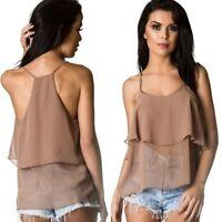 Coqueta Women's Sleeveless STRAP Ruffle chiffon Shirt Blouse Top BROWN coffee
