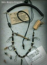 USA Handcrafted Fly Fishing Lanyard w/Tippet Holder,Buffalo Horn & Natural Beads
