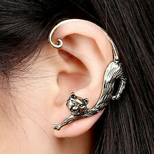 stretching cat kitty EAR CUFF CLIP WRAP LURE EARRING GOTHIC PUNK STUD DECO CURL