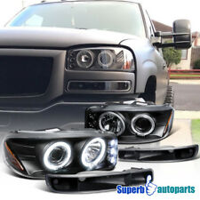 For 1999-2006 GMC Sierra Yukon Projector Headlights+Bumper Lamps Black