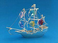 "SWAROVSKI CRYSTAL ELEMENTS ""Ship"" FIGURINE - ORNAMENT SILVER PLATED"