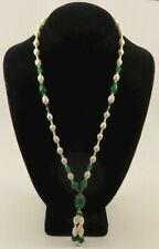 """White Pearl & Green Jade Lariat Pendant Silver 22"""" Necklace"""