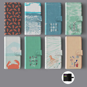 SEASIDE SUMMER SHELLS CRABS CORAL LEATHER WALLET PHONE CASE FOR IPHONE