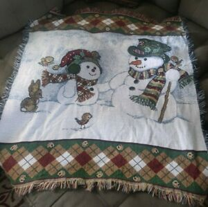 "Vintage Snowman Birds Bunny Tapestry Throw Blanket Christmas Winter 51"" x 48"""
