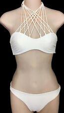 Mikoh  Swimsuit Bikini Milk White Lattice Halter Top Bottoms size medium