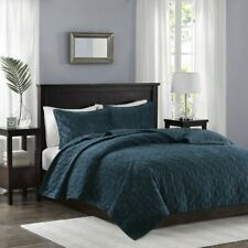 Madison Park Harper Velvet 3-Piece Quilted Coverlet Set - FULL / QUEEN - Teal