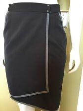 """RAG & BONE Women Charcoal Ribbon Wrap Front Zip Stretch Pencil Skirt 28"""" x 20"""" L"""