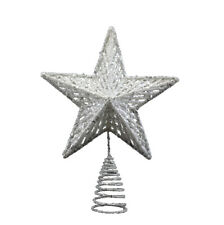 Gisela Graham Silver Christmas Star Tree Topper Feature - Christmas Decorations