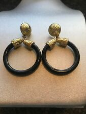 RUNWAY LARGE BLACK AND GOLDTONE PIERCED EARRINGS RETRO MOD STATEMENT