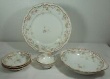 Antique Theodore Haviland Schleiger 304 Double Gold Pink Floral Blue Swag 6 Pc