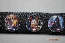 NEW Snap metal chunk Button STAR WARS charm covers/18MM w/Leather snap bracelet