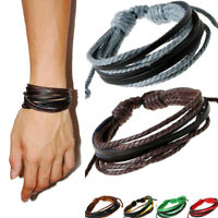Mens Handmade Multilayer Leather Braided Surfer Wristband Bracelet Bangle Wrap