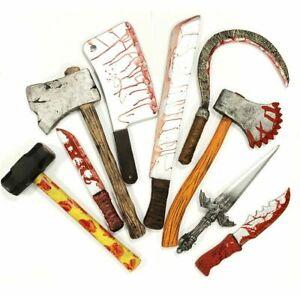 Realistic Foam Bloody Butcher Knife Weapon Halloween Fake Weapon Hard Quality