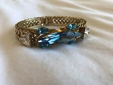 Vicky Sarge/Erickson Beamon Gold Chained Bracelet with Blue and Clear Gems