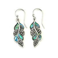 Women Vintage 925 Silver Opal Gemstone Ear Hook Dangle Drop Earrings Jewelry